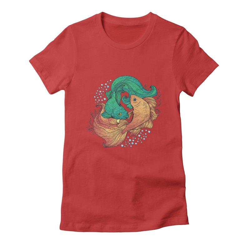 Ying Yang Koi Women's Fitted T-Shirt by EvoComicsInc's Artist Shop