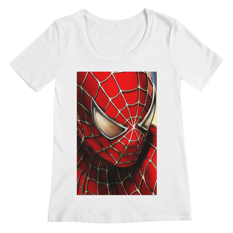 Spiderman Movie Poster Women's Regular Scoop Neck by Evolution Comics INC