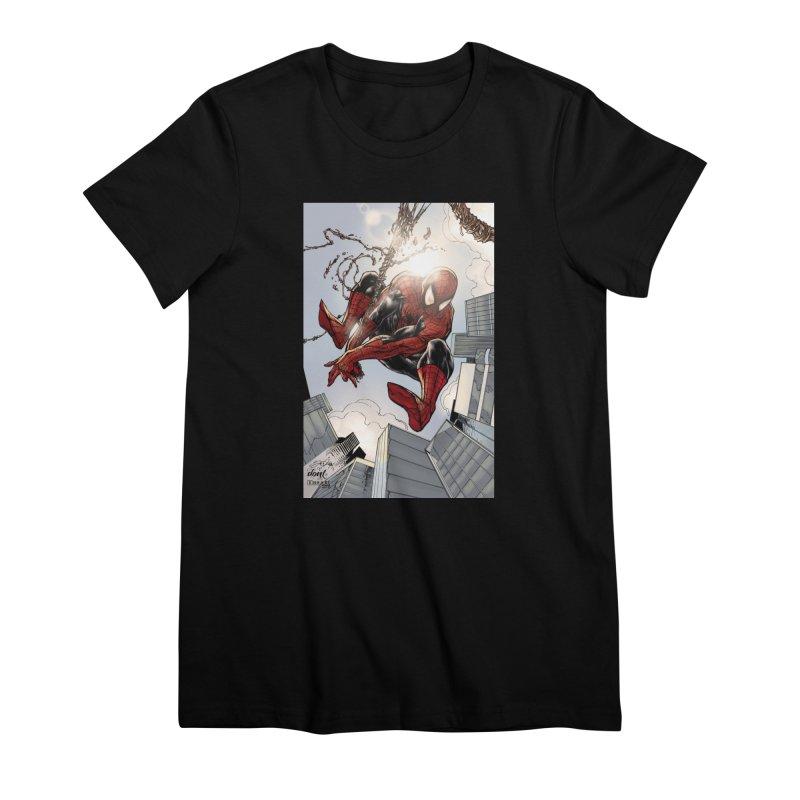 Spiderman Web Swinging Women's Premium T-Shirt by EvoComicsInc's Artist Shop