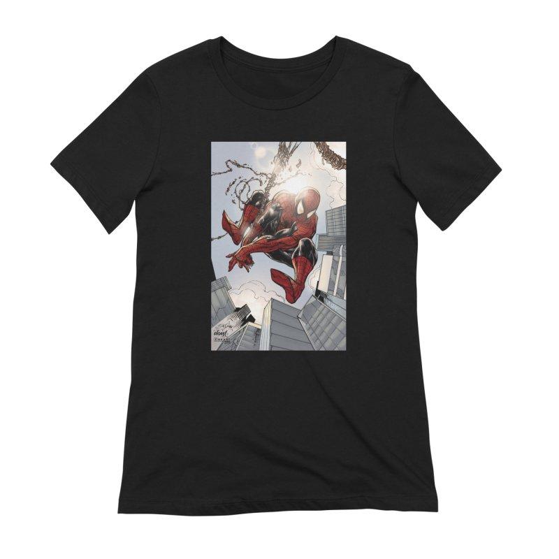 Spiderman Web Swinging Women's Extra Soft T-Shirt by EvoComicsInc's Artist Shop