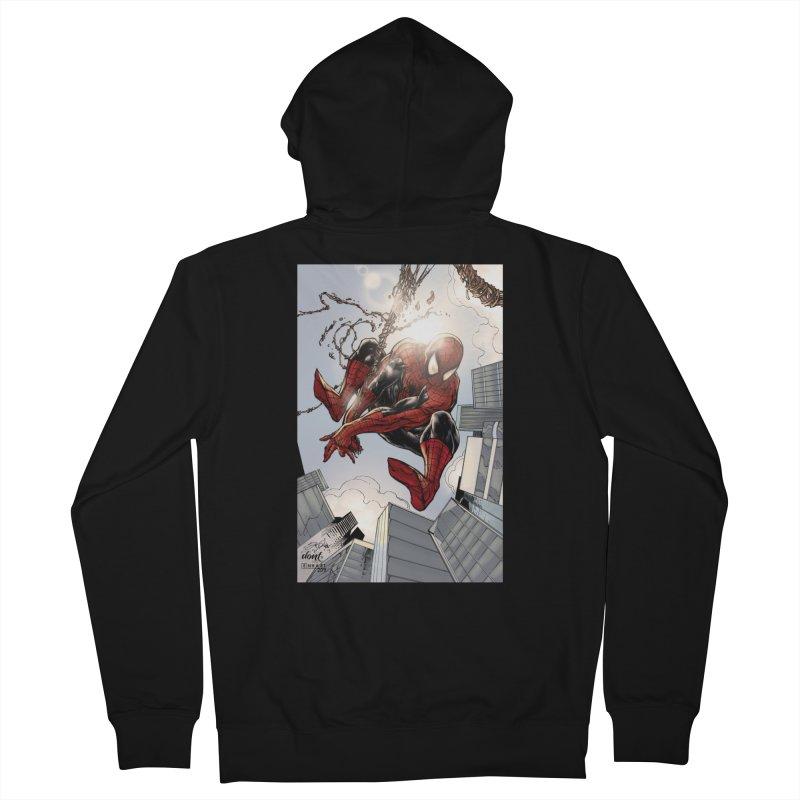 Spiderman Web Swinging Men's Zip-Up Hoody by EvoComicsInc's Artist Shop