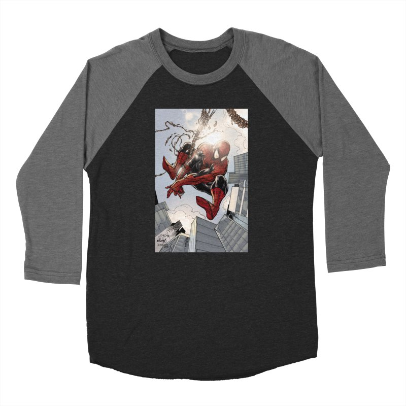 Spiderman Web Swinging Women's Baseball Triblend Longsleeve T-Shirt by Evolution Comics INC