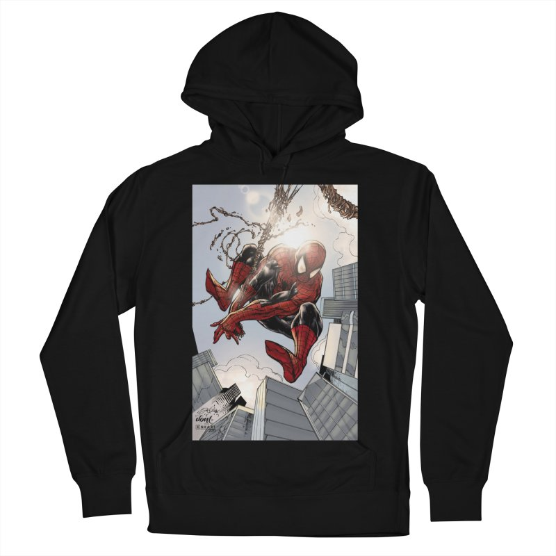 Spiderman Web Swinging Women's French Terry Pullover Hoody by EvoComicsInc's Artist Shop