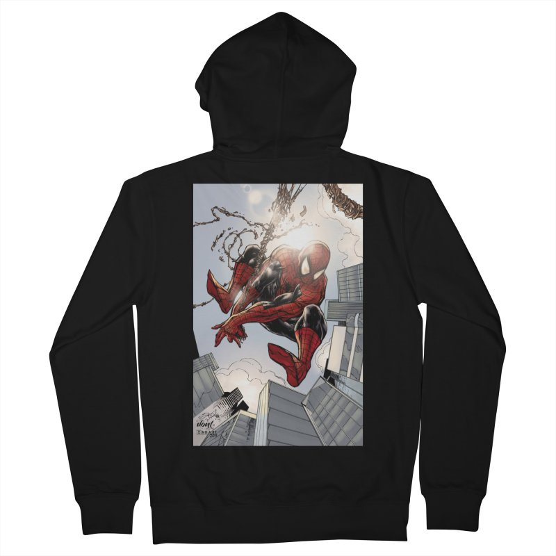 Spiderman Web Swinging Men's French Terry Zip-Up Hoody by EvoComicsInc's Artist Shop