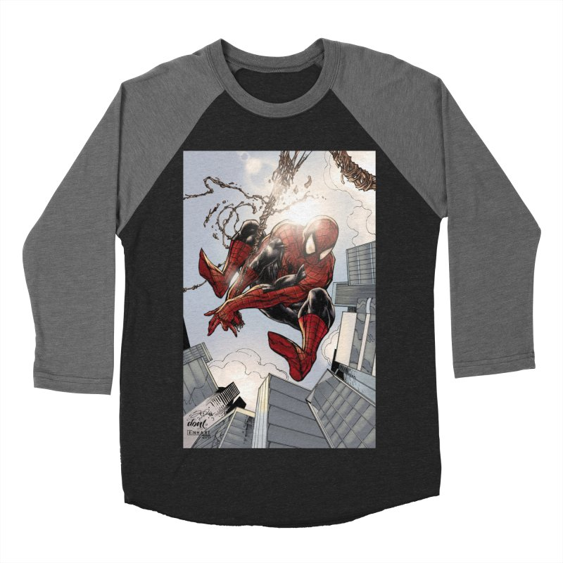 Spiderman Web Swinging Men's Baseball Triblend Longsleeve T-Shirt by EvoComicsInc's Artist Shop