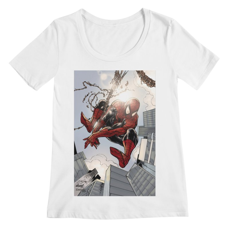 Spiderman Web Swinging Women's Regular Scoop Neck by Evolution Comics INC
