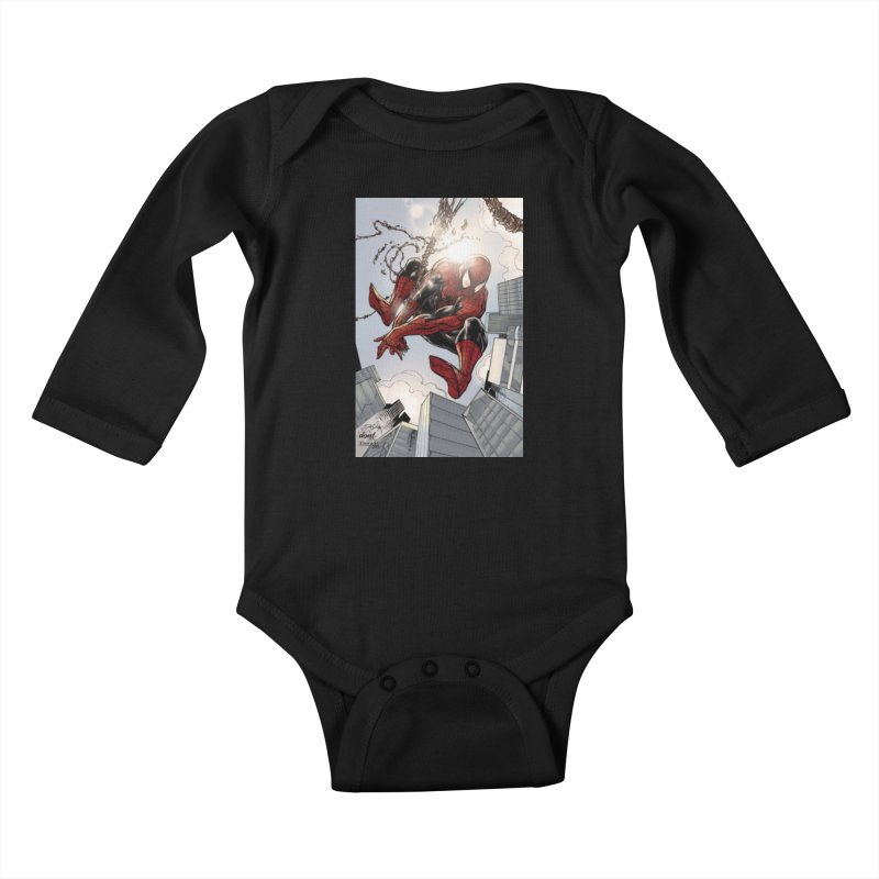 Spiderman Web Swinging Kids Baby Longsleeve Bodysuit by Evolution Comics INC