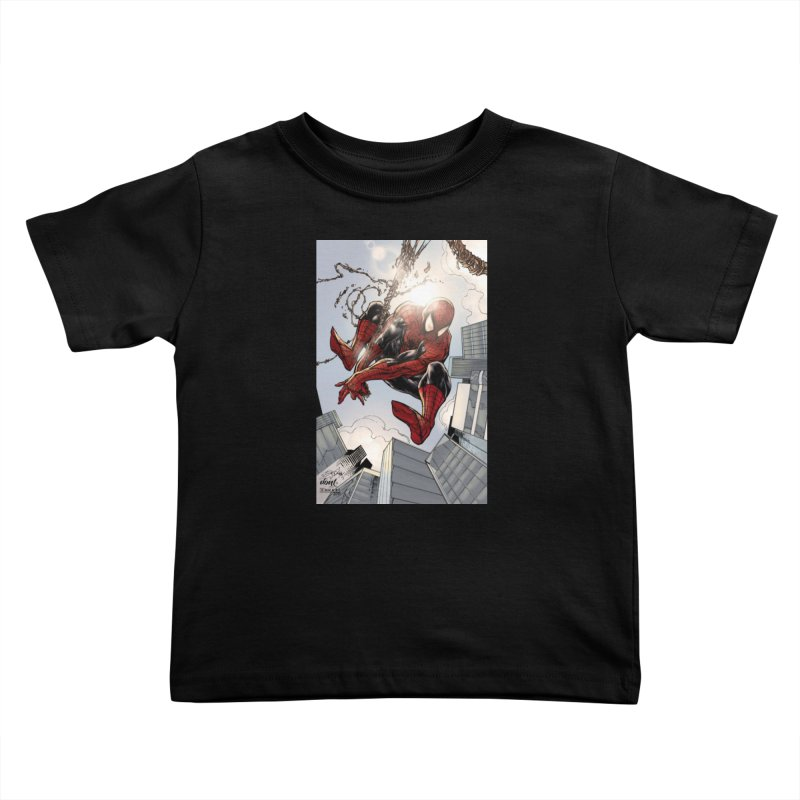 Spiderman Web Swinging Kids Toddler T-Shirt by Evolution Comics INC