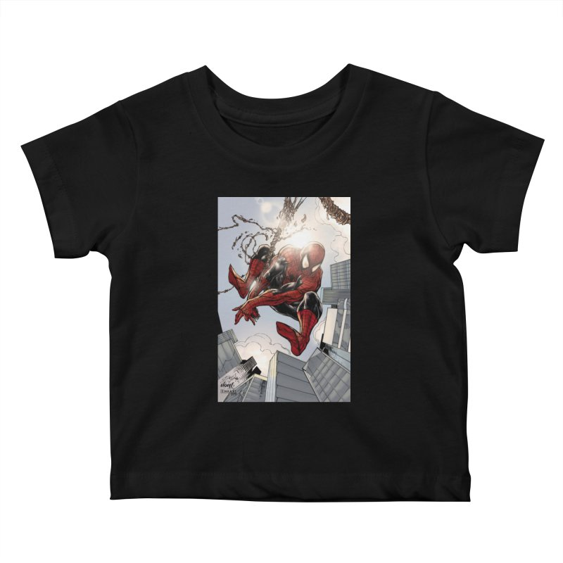 Spiderman Web Swinging Kids Baby T-Shirt by Evolution Comics INC