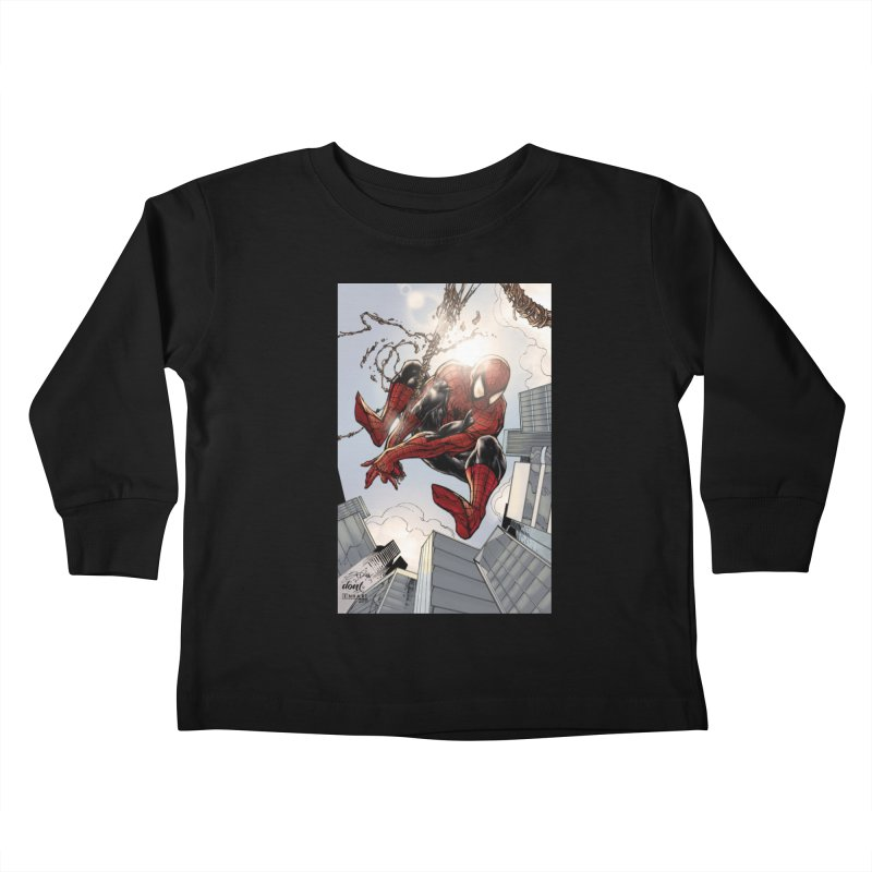 Spiderman Web Swinging Kids Toddler Longsleeve T-Shirt by Evolution Comics INC