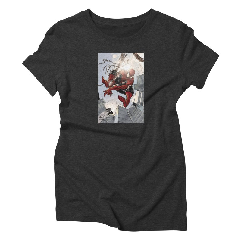 Spiderman Web Swinging Women's T-Shirt by Evolution Comics INC