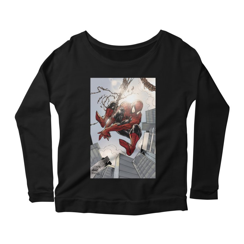 Spiderman Web Swinging Women's Scoop Neck Longsleeve T-Shirt by EvoComicsInc's Artist Shop