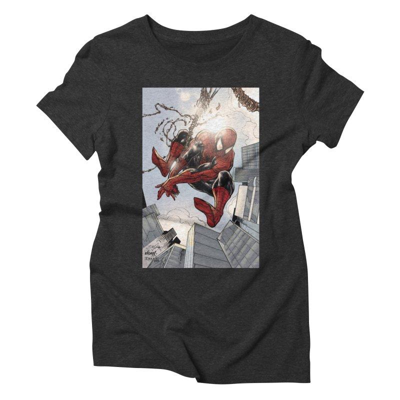 Spiderman Web Swinging Women's Triblend T-Shirt by EvoComicsInc's Artist Shop