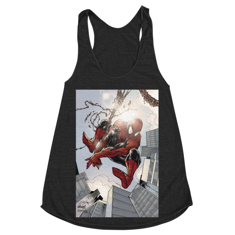 Spiderman Web Swinging Women's Racerback Triblend Tank by Evolution Comics INC