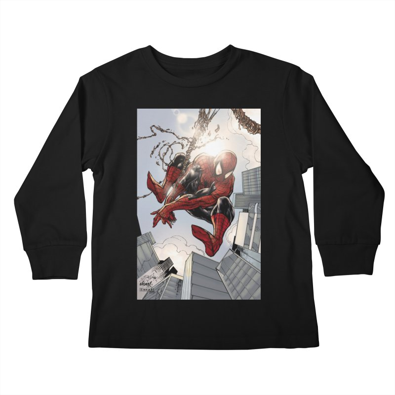 Spiderman Web Swinging Kids Longsleeve T-Shirt by Evolution Comics INC
