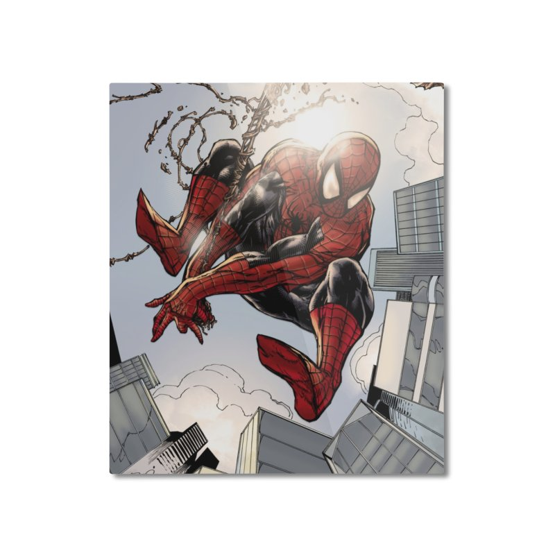 Spiderman Web Swinging Home Mounted Aluminum Print by EvoComicsInc's Artist Shop
