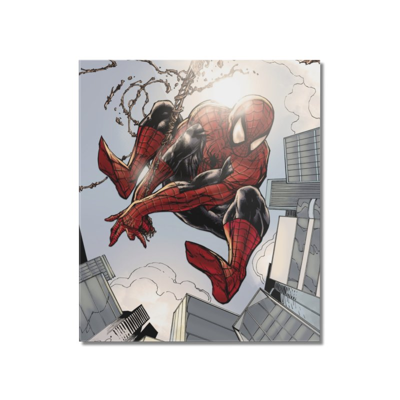 Spiderman Web Swinging Home Mounted Acrylic Print by EvoComicsInc's Artist Shop