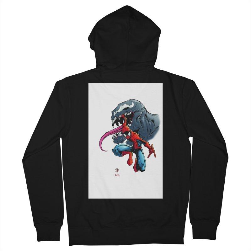 Spiderman w/Venom Men's French Terry Zip-Up Hoody by EvoComicsInc's Artist Shop