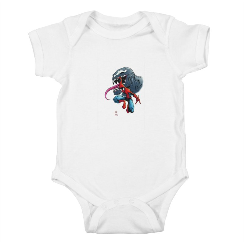 Spiderman w/Venom Kids Baby Bodysuit by Evolution Comics INC
