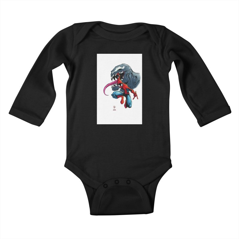 Spiderman w/Venom Kids Baby Longsleeve Bodysuit by Evolution Comics INC