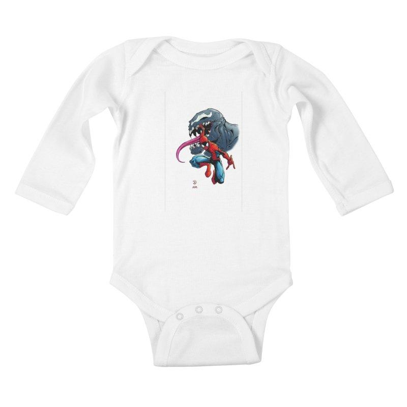 Spiderman w/Venom Kids Baby Longsleeve Bodysuit by Evolution Comics INC