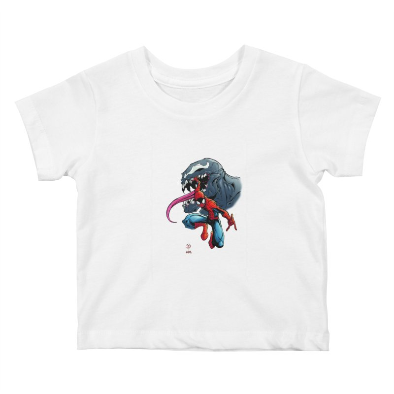 Spiderman w/Venom Kids Baby T-Shirt by EvoComicsInc's Artist Shop