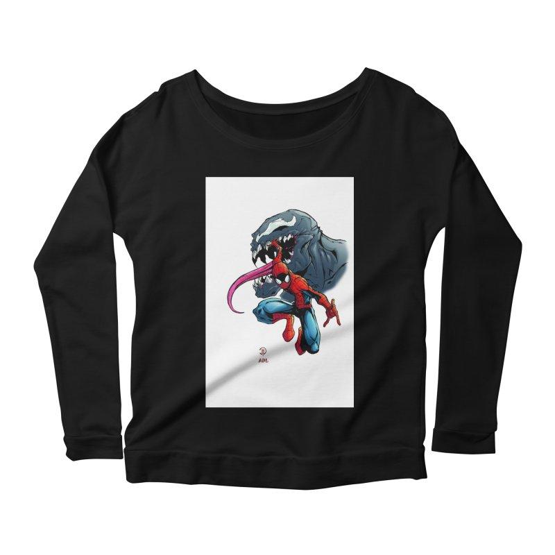 Spiderman w/Venom Women's Scoop Neck Longsleeve T-Shirt by EvoComicsInc's Artist Shop