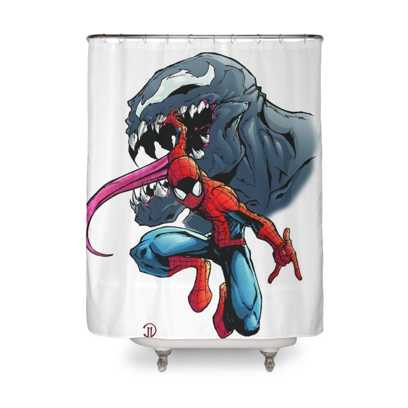Spiderman w/Venom Home Shower Curtain by EvoComicsInc's Artist Shop