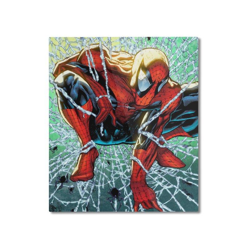 Spiderman Webbing Home Mounted Aluminum Print by EvoComicsInc's Artist Shop
