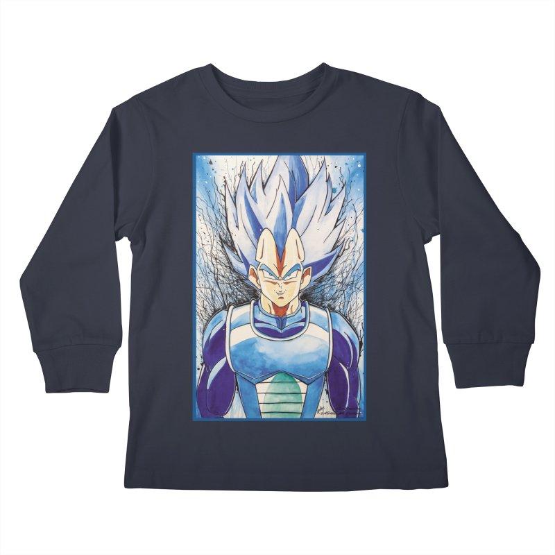 Vegeta Super Saiyan Blue Kids Longsleeve T-Shirt by Evolution Comics INC