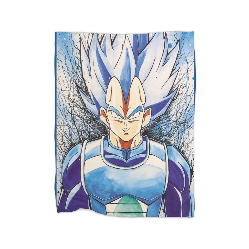 Vegeta Super Saiyan Blue Home Fleece Blanket Blanket by Evolution Comics INC