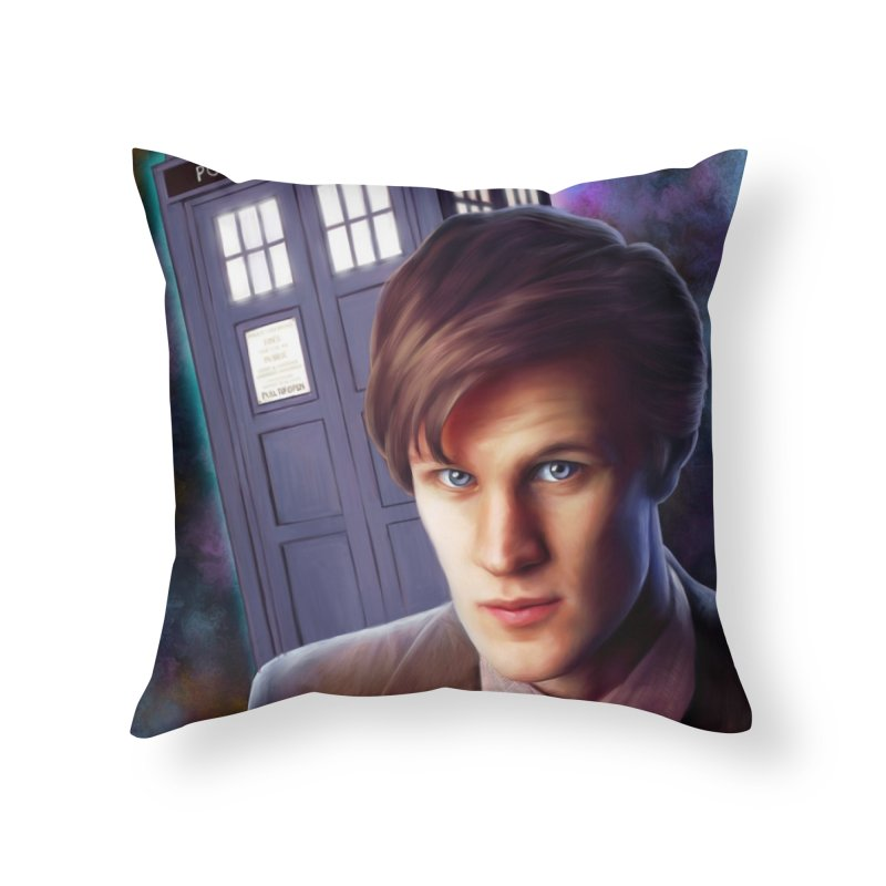 Dr Who 11 (Matt Smith) Home Throw Pillow by Evolution Comics INC