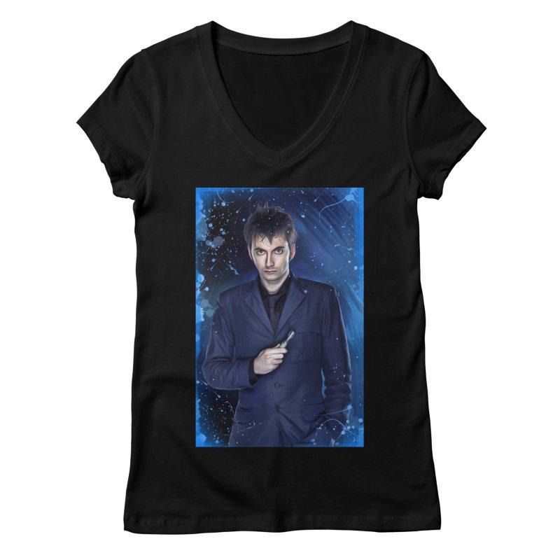 Dr Who 10th (David Tenant) Women's Regular V-Neck by EvoComicsInc's Artist Shop