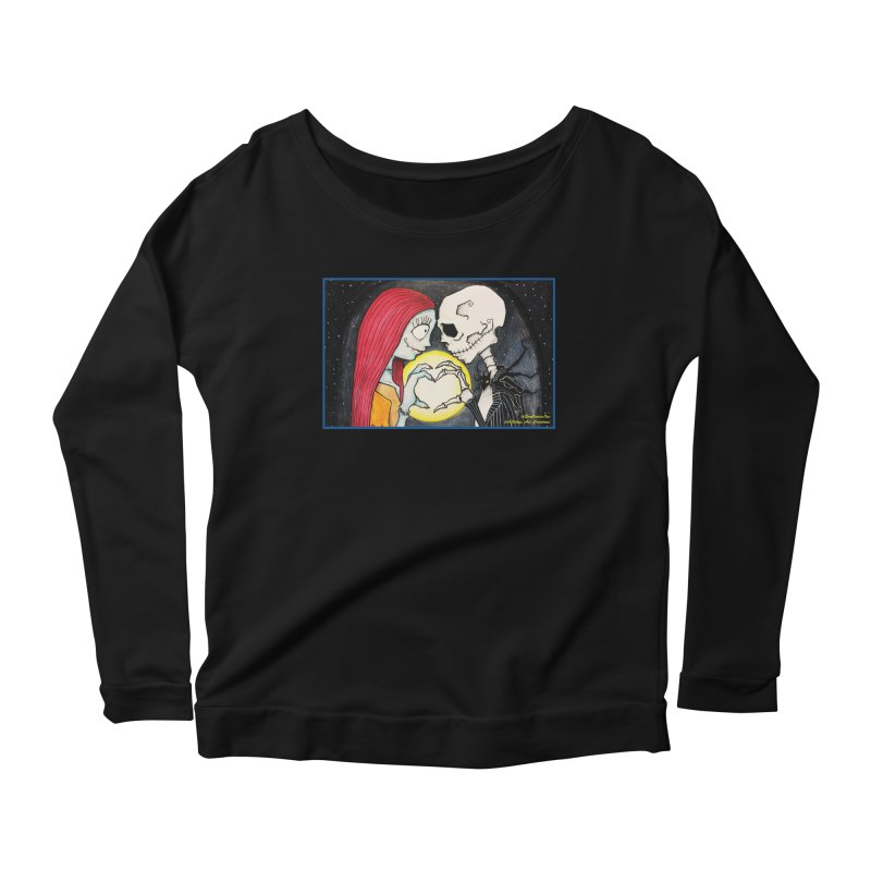 Nightmare Before Christmas - Jack and Sally in Love Women's Scoop Neck Longsleeve T-Shirt by Evolution Comics INC