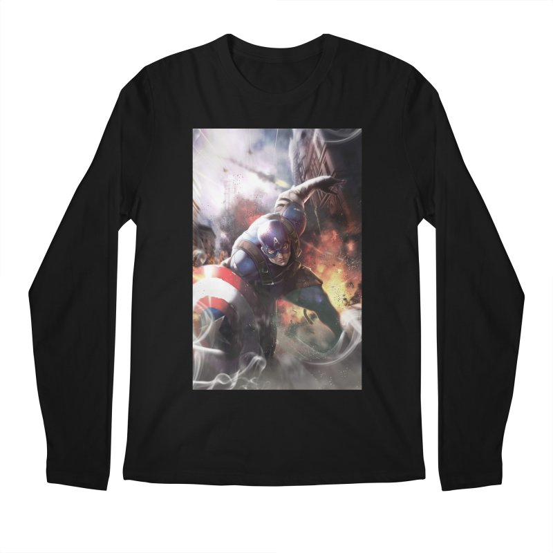 Captain American Men's Regular Longsleeve T-Shirt by Evolution Comics INC