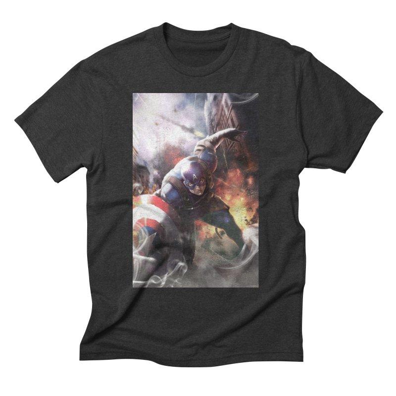 Captain American Men's Triblend T-Shirt by Evolution Comics INC