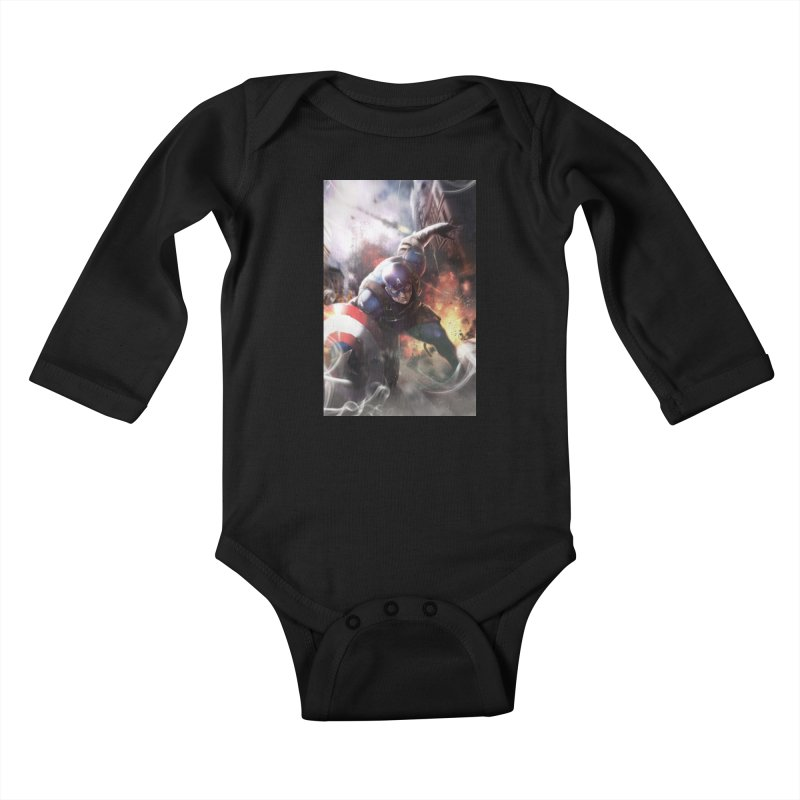 Captain American Kids Baby Longsleeve Bodysuit by Evolution Comics INC