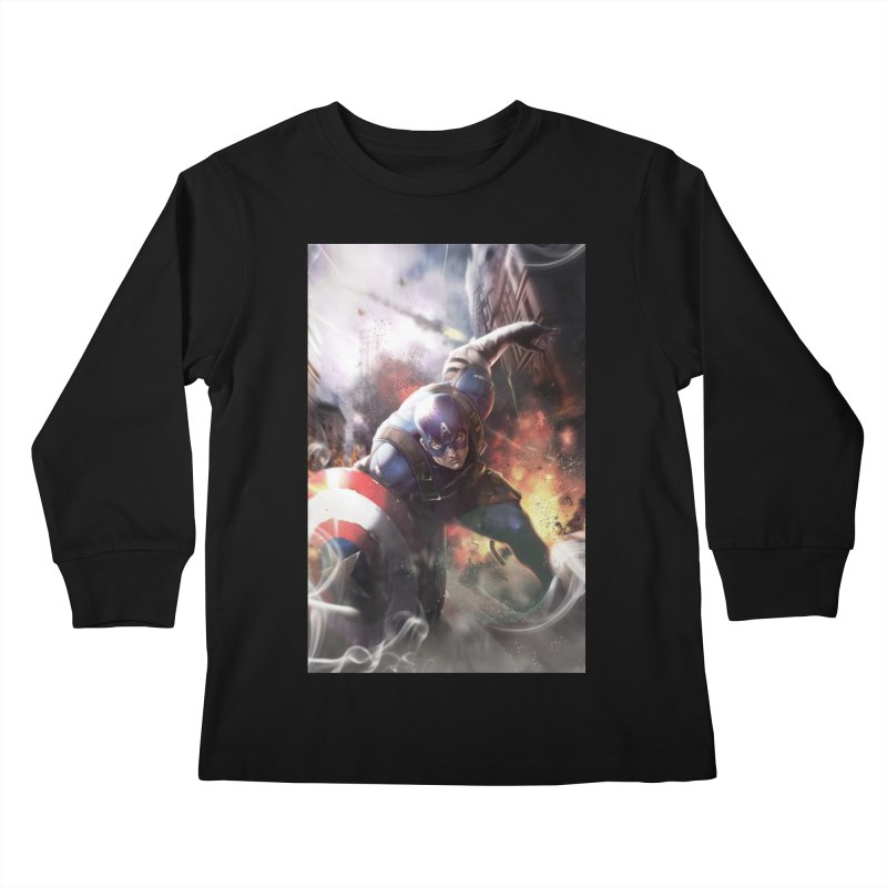 Captain American Kids Longsleeve T-Shirt by Evolution Comics INC