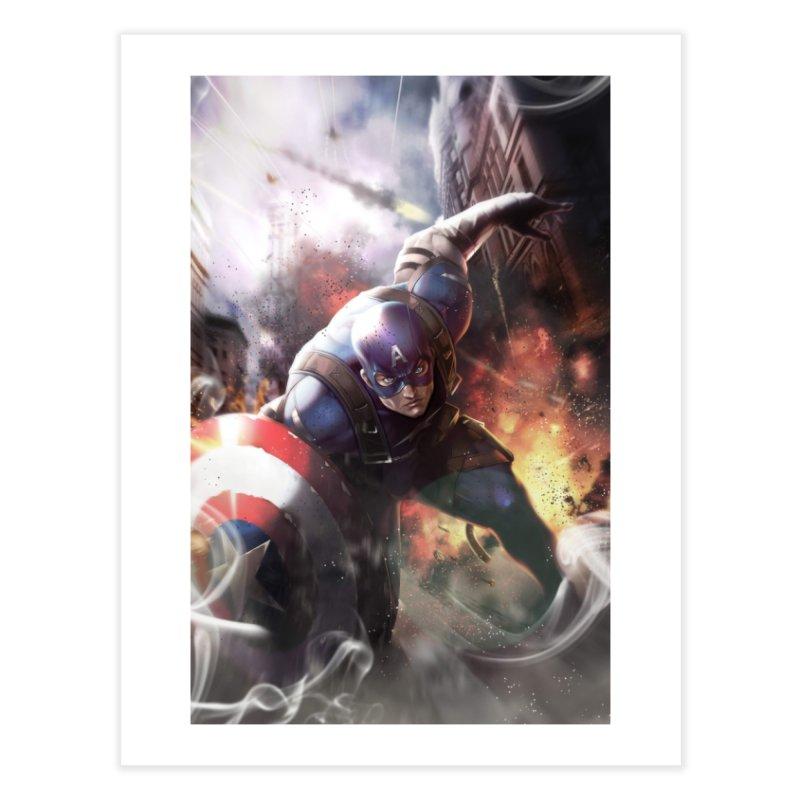 Captain American Home Fine Art Print by Evolution Comics INC