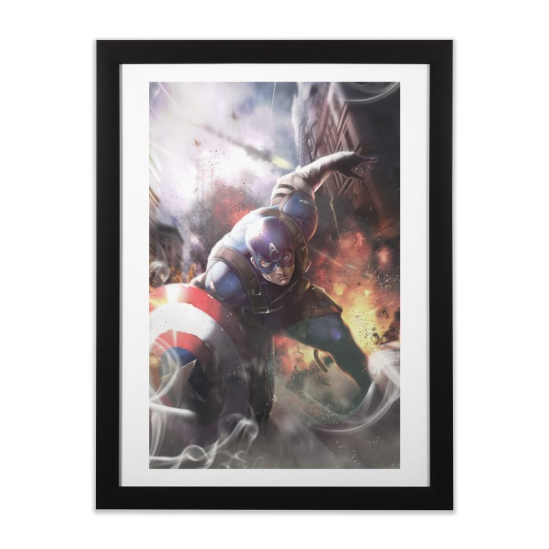 Captain American Home Framed Fine Art Print by Evolution Comics INC