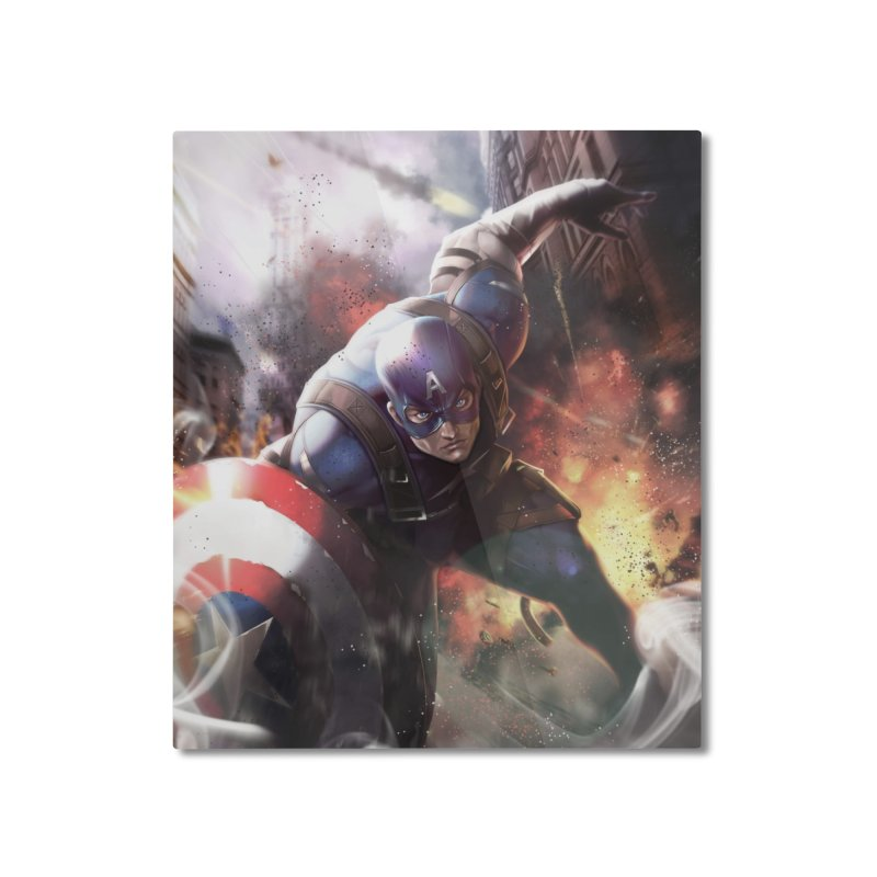 Captain American Home Mounted Aluminum Print by Evolution Comics INC