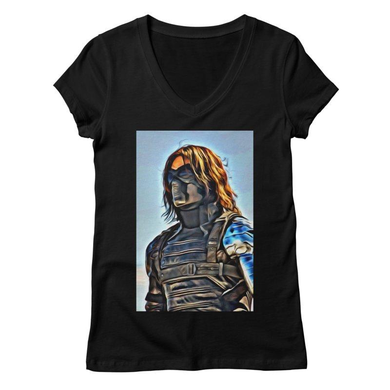 Bucky Barns - Winter Soldier Women's Regular V-Neck by Evolution Comics INC