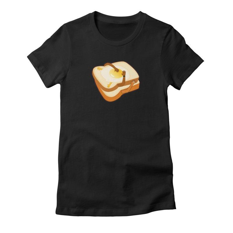 Breakfast in Bed Women's Fitted T-Shirt by ExplorerTales's Artist Shop