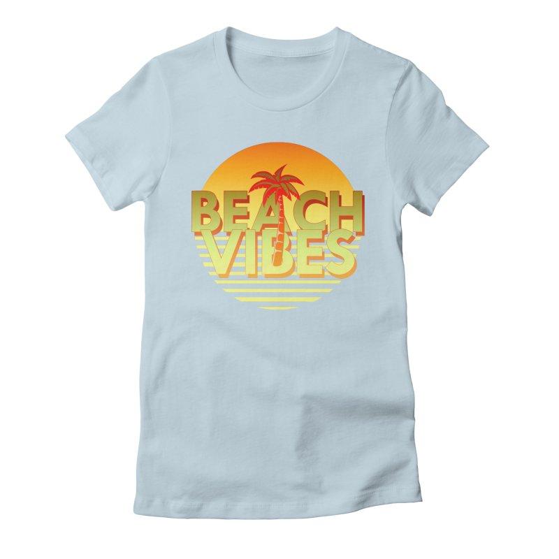 Beach Vibes Women's Fitted T-Shirt by ExplorerTales's Artist Shop