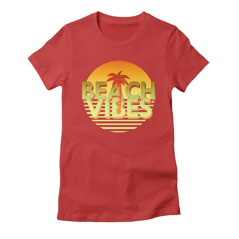 Beach Vibes Women's Fitted T-Shirt by ExplorerTales's Artist Shop