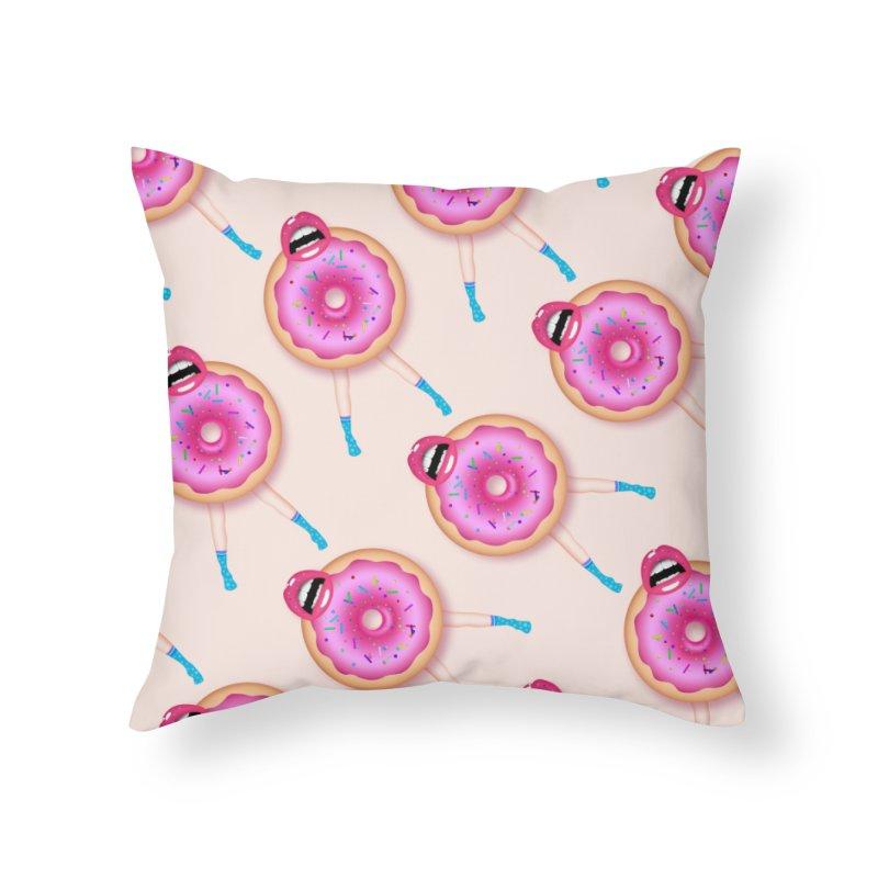 Donut Kiss Me Home Throw Pillow by ExplorerTales's Artist Shop