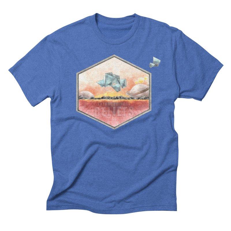 EXTRAORDINARY BELIEFS / LIGHT in Men's Triblend T-Shirt Blue Triblend by Extraordinary Beliefs Artist Shop