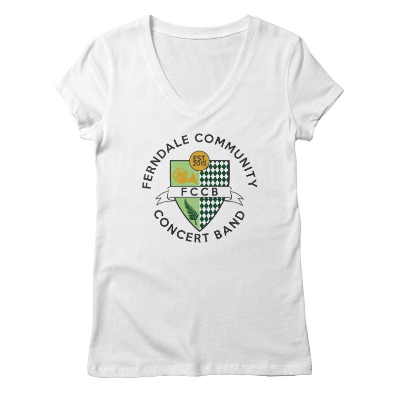 Large Crest- light styles Women's Regular V-Neck by FCConcertBand's Apparel Shop