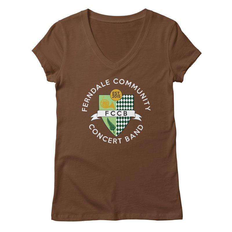 Large Crest- dark styles Women's Regular V-Neck by FCConcertBand's Apparel Shop
