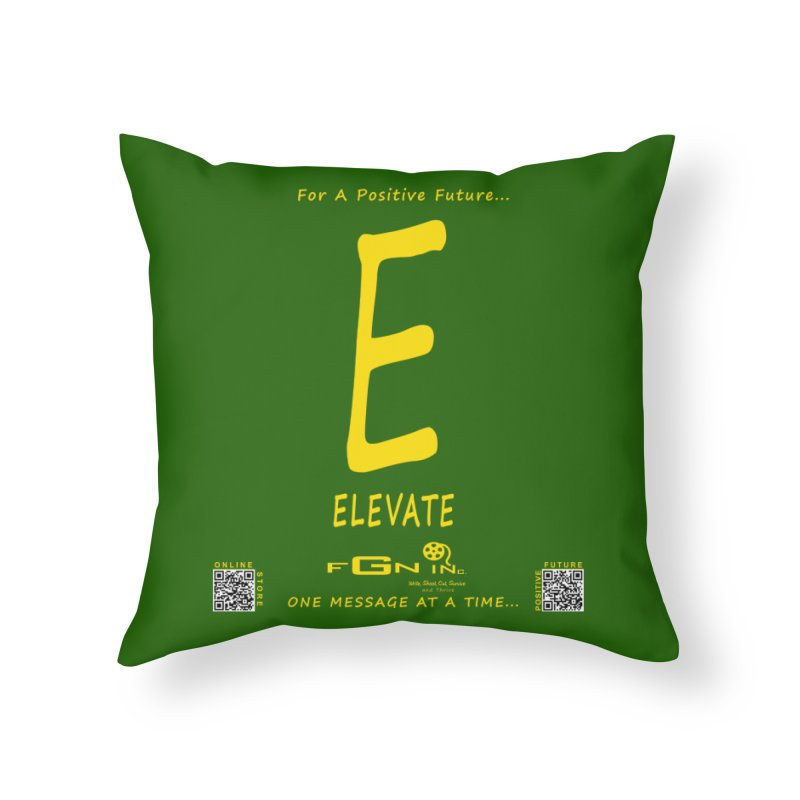 670B - E For Elevate Home Throw Pillow by FGN Inc. Online Shop